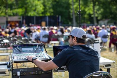 Events United team running sound at Alvirne High School Graduation