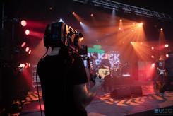 Behind the scense of camera operator during Dropkick Murphys live stream concert in virtual studio
