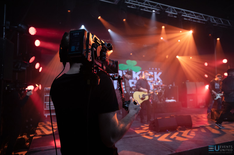 Behind the scense of camera operator during Dropkick Murphys live stream concert in virtual studio