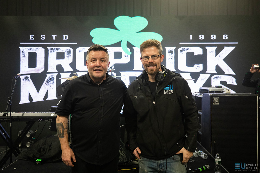 Events United's Tim Messina, right, poses with the Dropkick Murphys' Ken Casey, whose band was forced to livestream its annual St. Patrick's Day concert from the Derry production studio. Messina and his team pulled together the logistics for the show in 24 hours.