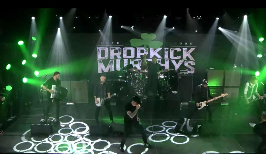 Dropkick Murphys performing on virtual stage for St. Patricks day live stream concert