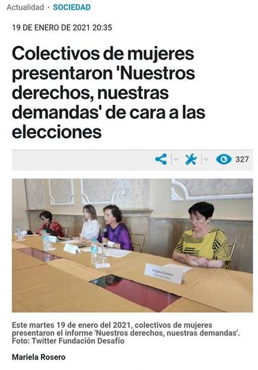 """Colectivos de mujeres presentaron """"Nuestros derechos, nuestras demandas decara a las elecciones """""""