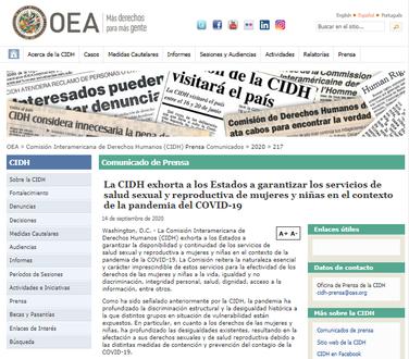 OEA sobre los servicios de salud en el contexto del COVID-19