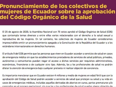 Pronunciamiento de los colectivos de mujeres de Ecuador sobre la aprobación del Código Orgánico de