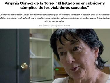 """GK - Virginia Gómez de la Torre: """"El Estado es encubridor y cómplice de los violadores sexuales"""""""