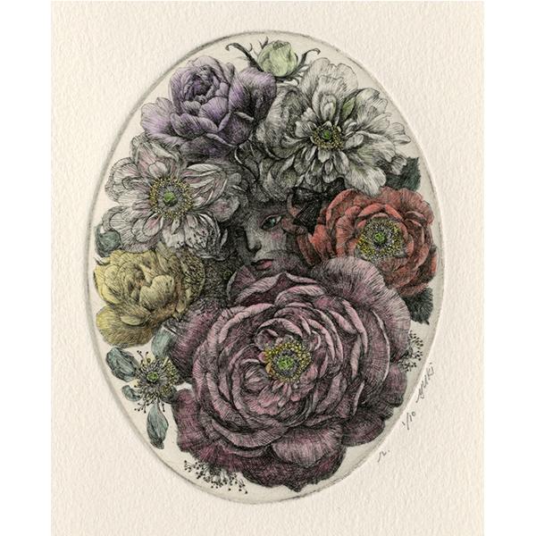 深夜の薔薇連祷 銅版画手彩色