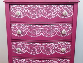 Pink lace dresser