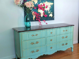 Mint-ish french provincial dresser