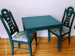 Dark turquoise table & chairs set