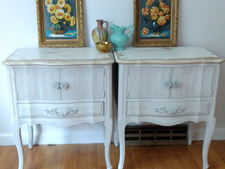 Shabby farmhouse nightstands set