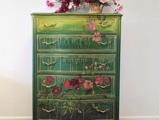 Green and Yellow Boho Dresser