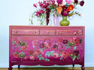 Stunning pink flowered dresser