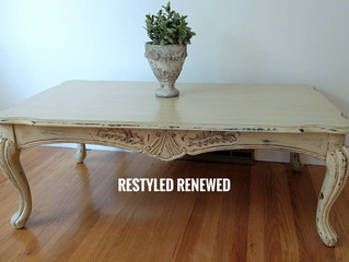 Cream Coffee Table, Aged, Distressed