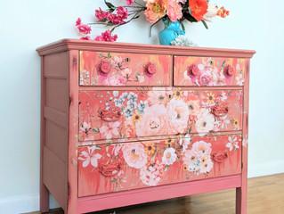 Coral and peach boho dresser