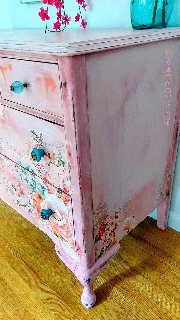Coral Pink Boho Dresser