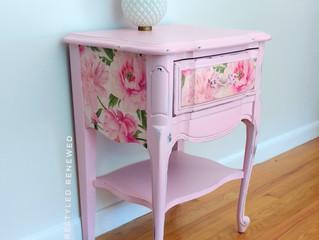 Pink peonies nightstand