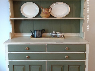 Cream and green hutch