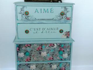 Dresser, duck egg, flowers
