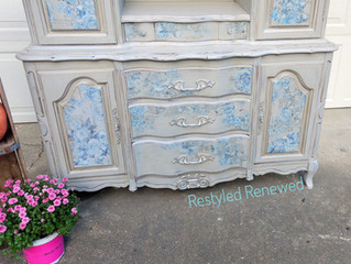 Gray Flowered Hutch