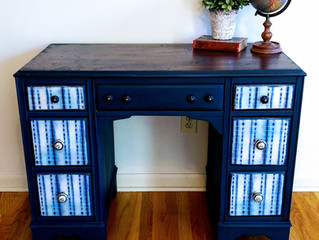 Blue Desk, a little boho a little industrial