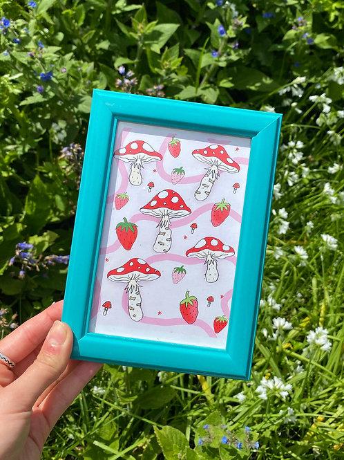 Mushroom Strawb A6 Mini Print