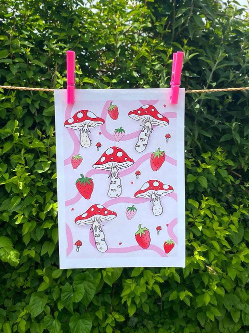 Mushroom Strawb Print A4