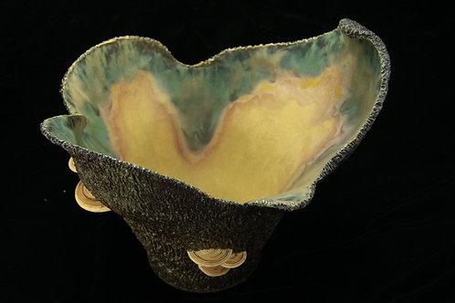 Bark Bowl with Mushrooms-Large