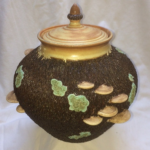 Lidded Jar with Mushrooms and Lichens