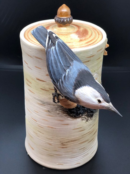 Nuthatch On Birch Canister