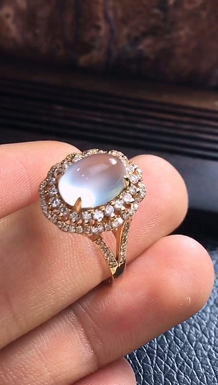 Quality Green Clear Jadeite Ringwith Diamond Studs (S50016)