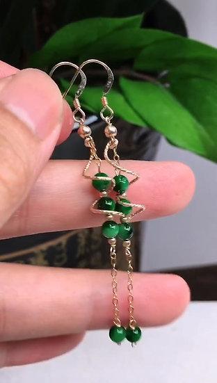 Green Jadeite Earringswith 14K Gold (S50024)