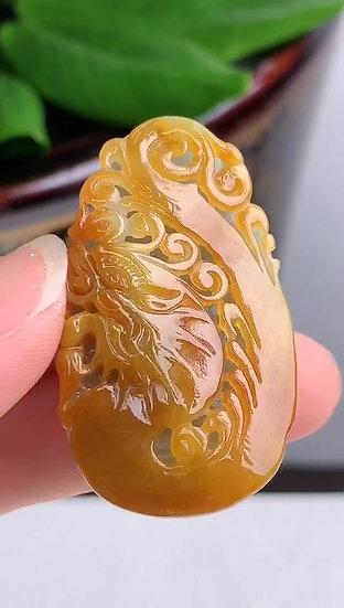 Yellow Dragon Jadeite Pendant (S90012)
