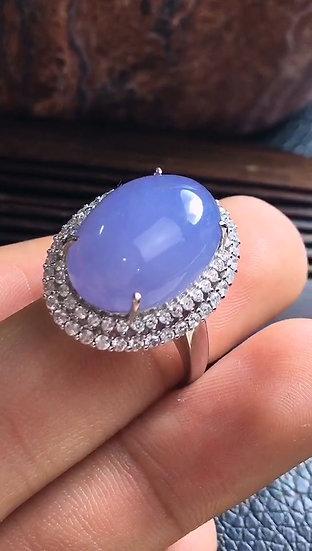 Strong PurpleJadeite Ringwith Diamond Studs (S50008)