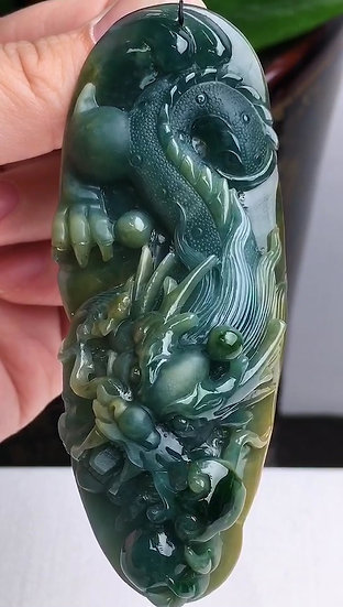 Blue & Yellow Dragon Jadeite Pendant (S90004)