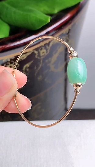 Green Jadeite Bracelet with 14K Gold (S50022)