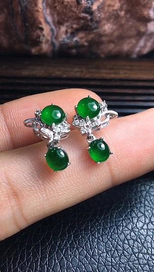 Elegant Quality Green Jadeite Ear Ringswith Diamond Studs (S50017)