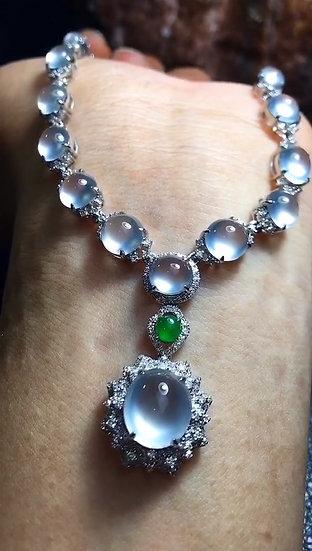 Vibrant Icy Jadeite Necklace with Diamond Studs (S50004)