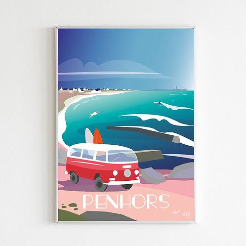 Affiche PENHORS surf et van • PAYS BIGOUDEN • FINISTERE
