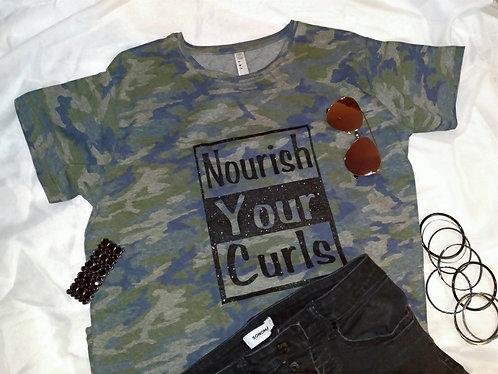 Nourish Your Curls T-shirt Camo, Dark Gray