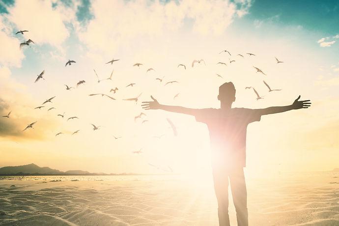 Positive Happy freedom man life worship