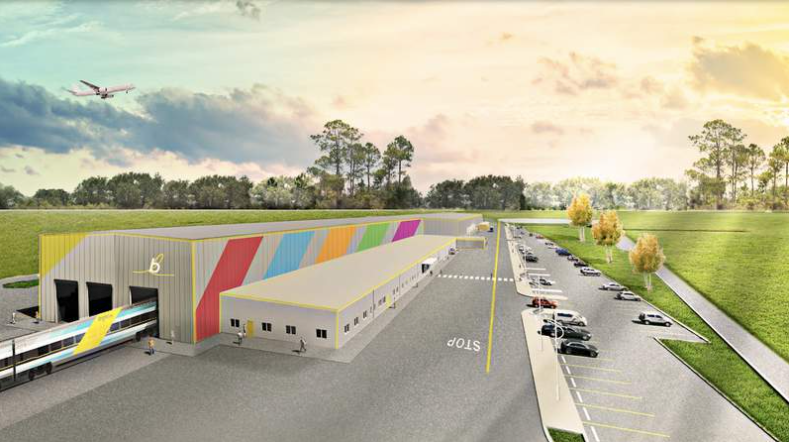 The 109,000 square-foot Orlando Vehicle Maintenance Facility. Rendering by Brightline. (Courtesy of Brightline)