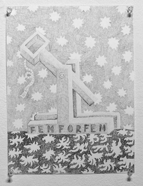 FemforFem, 2018, Graphite on paper, 9in x 12in