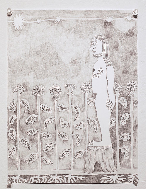 Wait for Me at the Sunflower Wall, 2018, 9in x 12in, Graphite on paper