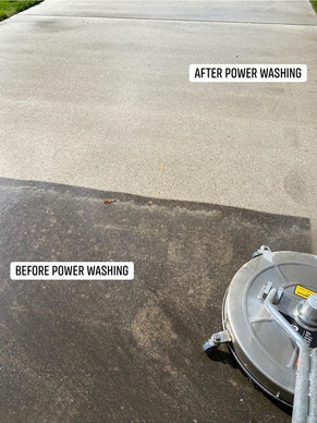 Power washing before and after.