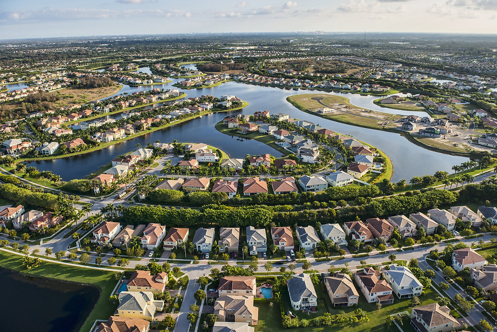 aerial view of nice south florida suburb