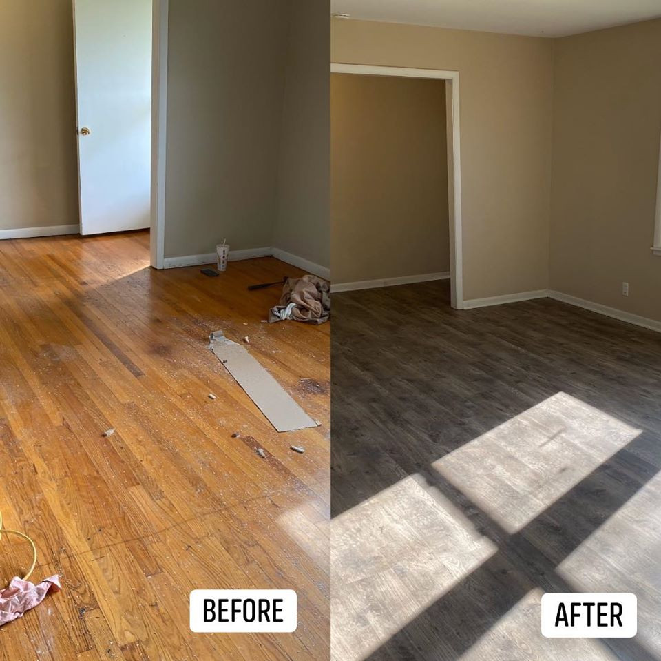 Flooring before and after.