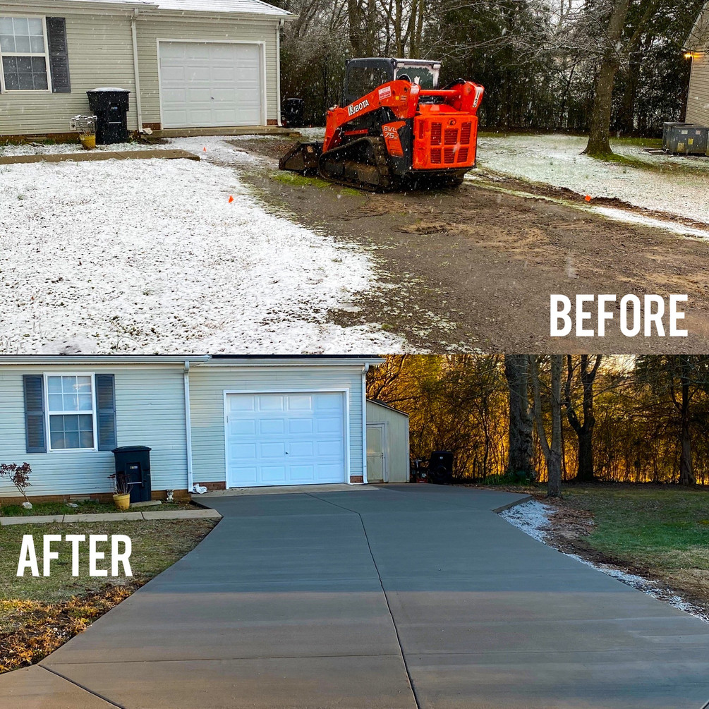 Driveway before and after.