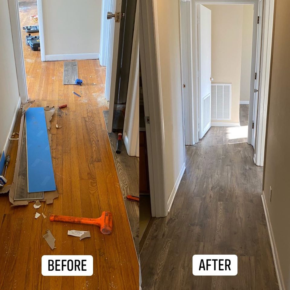 Hallway flooring before and after.