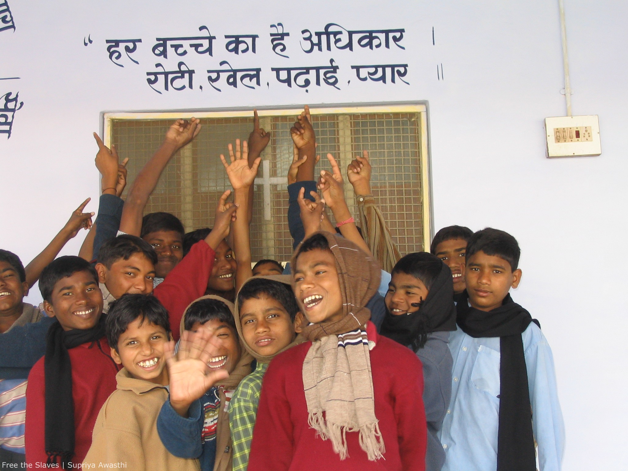 Children with slogan