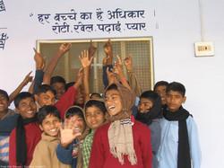 Children with slogan